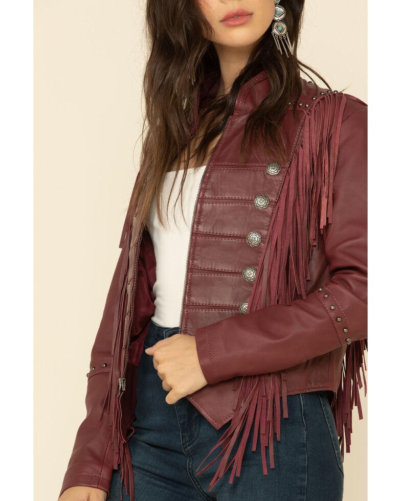 Liberty Wear Women's Burgundy Fringe Sheep Napa Jacket , Burgundy, hi-res
