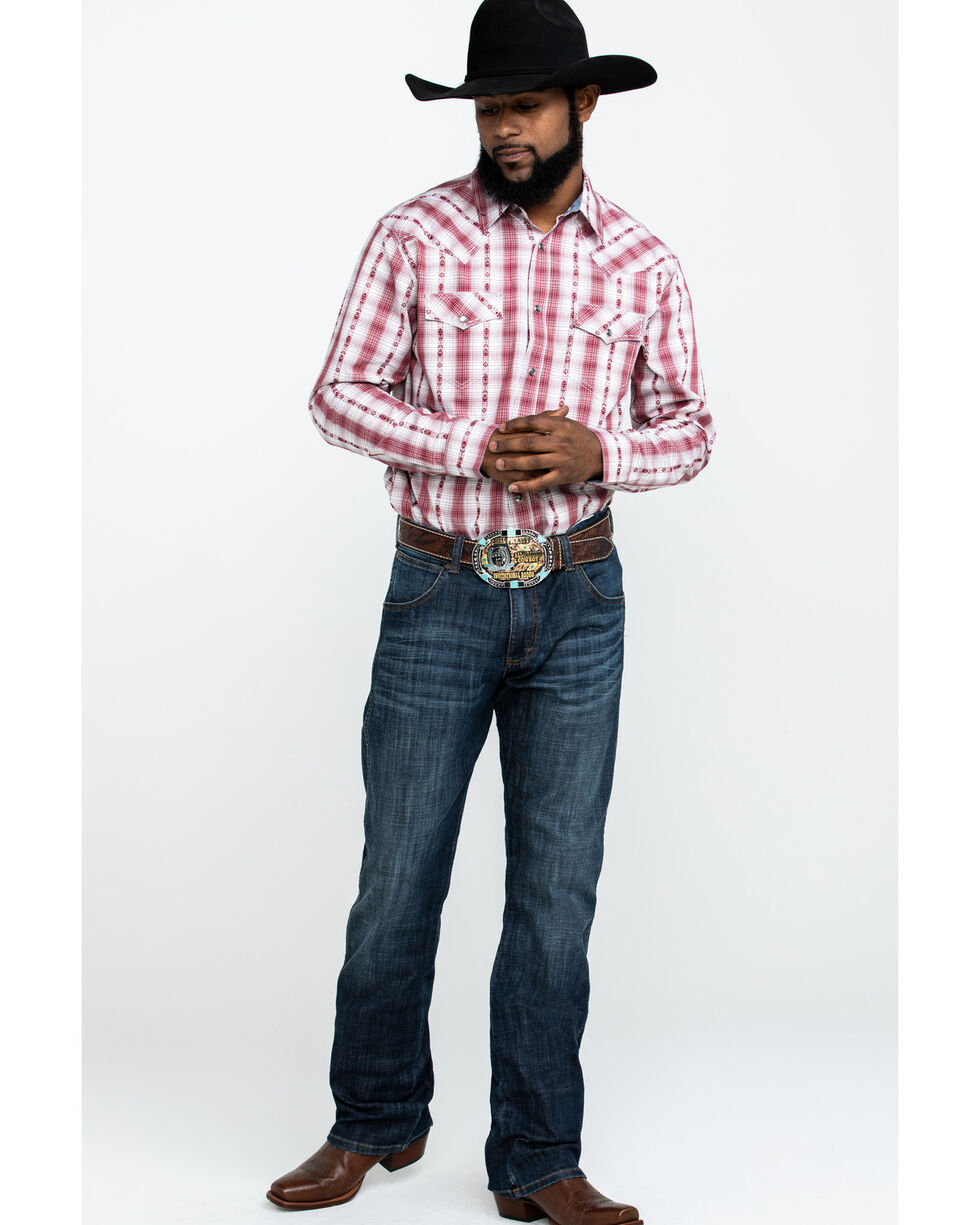 Cody James Men's Rodeo Rider Plaid Long Sleeve Western Shirt , Red, hi-res