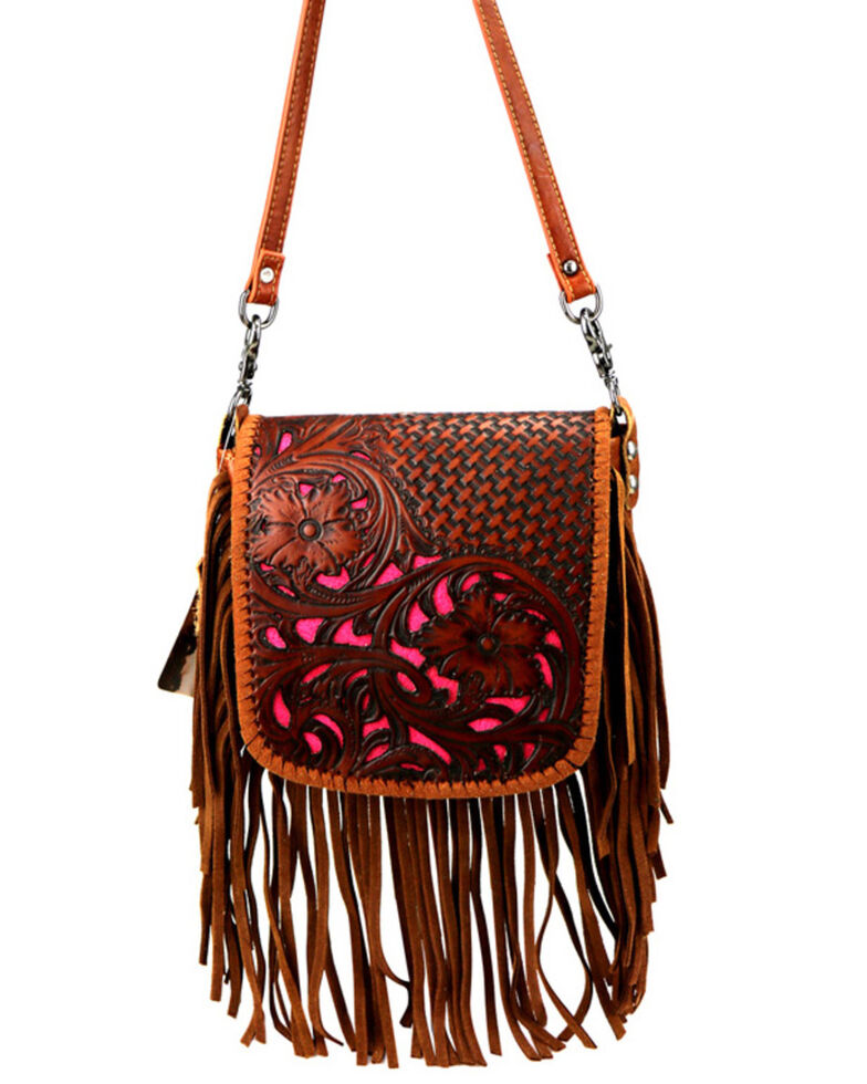 Montana West Women's Brown Tooled Inlay Leather Messenger Bag, Brown, hi-res