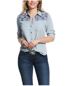 Ariat Women's Chambray Blue Long Road Embroidered Long Sleeve Western Shirt , Blue, hi-res