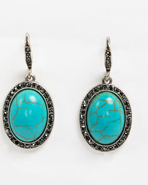 Shyanne Women's Turquoise Hem Drop Earrings, Silver, hi-res