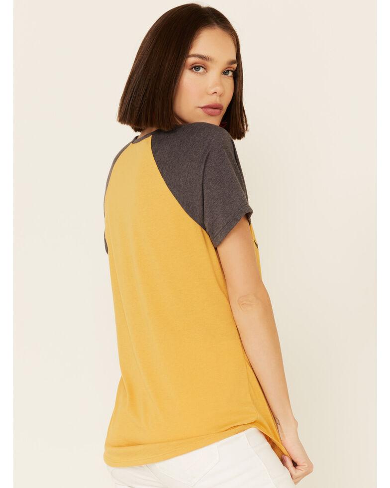 Cut & Paste Women's American Rodeo Graphic Contrast Short Sleeve Raglan Tee , Dark Yellow, hi-res