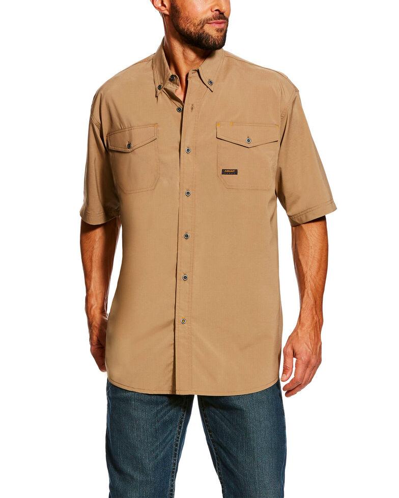 Ariat Men's Rebar Made Tough Vent Short Sleeve Work Shirt , Beige/khaki, hi-res