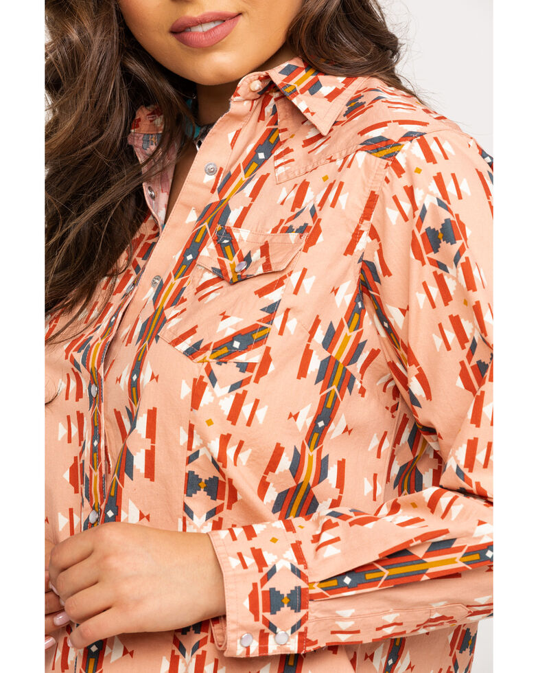 Wrangler Women's Blush Aztec Snap Long Sleeve Western Shirt, Coral, hi-res