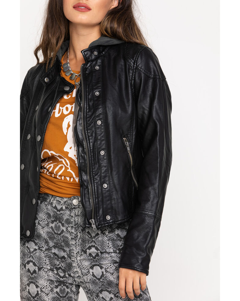 Free People Women's Black New Dawn Vegan Leather Jacket, Black, hi-res