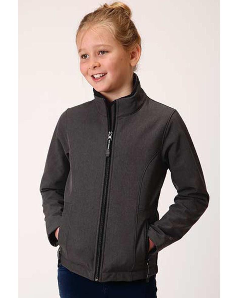 Roper Girls' Charcoal Softshell Jacket , Charcoal, hi-res