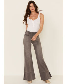 Rock & Roll Cowgirl Women's Grey Wide Hem Flare Jeans , Grey, hi-res