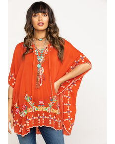 Johnny Was Women's Sunrise Dakota Poncho, Coral, hi-res