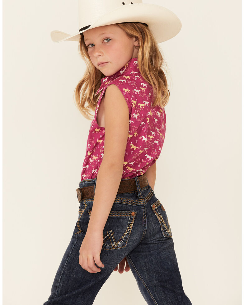 Shyanne Girls' Fuchsia Horse Print Tie-Front Sleeveless Snap Western Shirt , Fuscia, hi-res