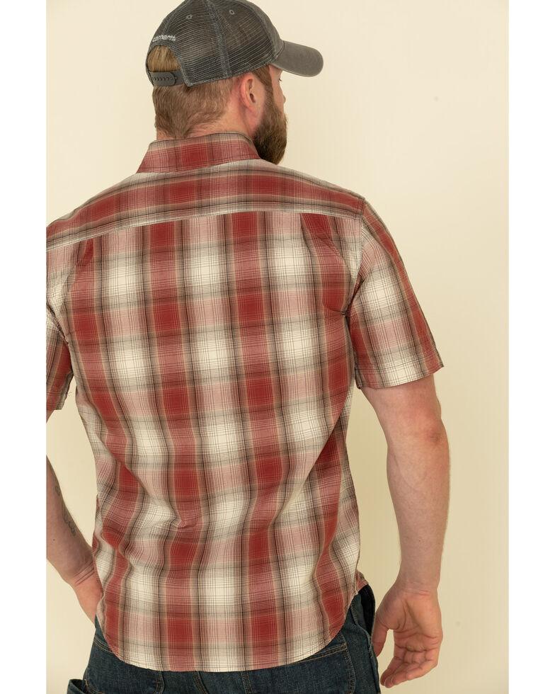 Carhartt Men's Dark Red Essential Plaid Button Down Short Sleeve Work Shirt , Dark Red, hi-res