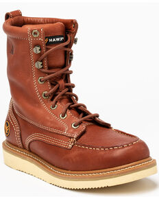 Hawx Men's Lacer Wedge Work Boots - Soft Toe, Brown, hi-res