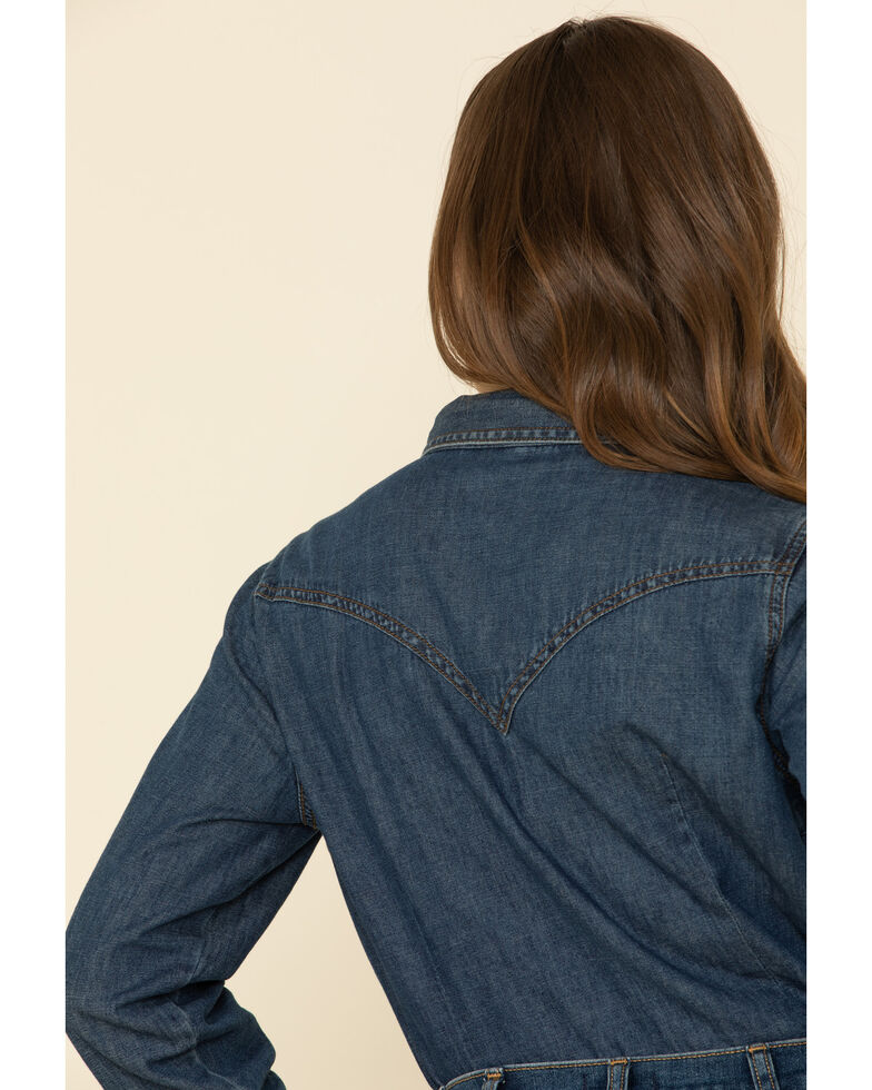 Wrangler Women's Dark Denim Washed Long Sleeve Western Shirt , Blue, hi-res
