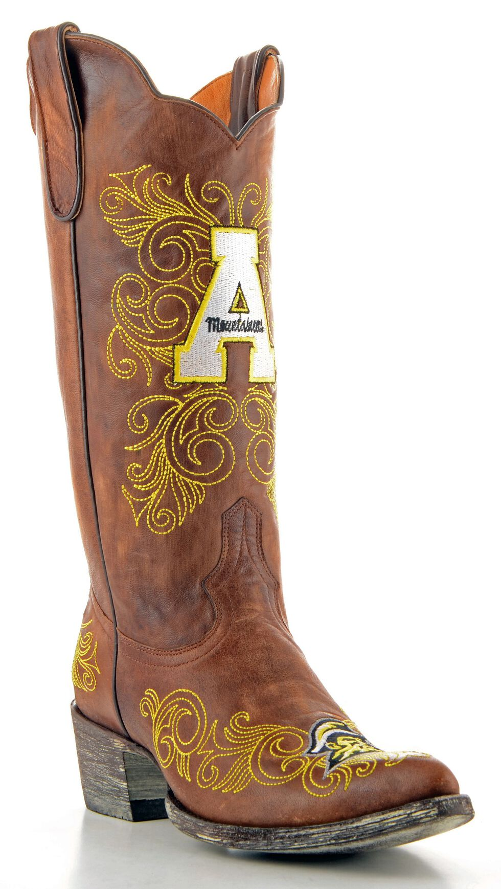 Gameday Appalachian State University Cowgirl Boots - Pointed Toe, Brass, hi-res