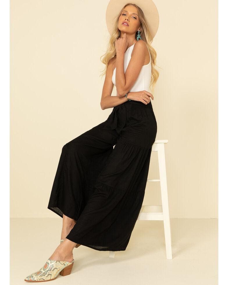 Patrons of Peace Women's Wide Leg Tiered Pants, Black, hi-res