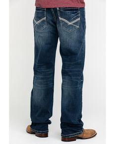 Rock & Roll Cowboy Men's Reflex Double Barrel Dark Vintage Relaxed Straight Jeans , Blue, hi-res