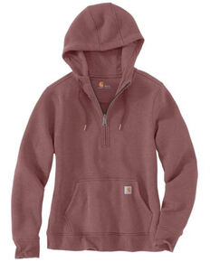 Carhartt Women's Wine Clarksburg Half Zip Hooded Sweatshirt, Heather Purple, hi-res