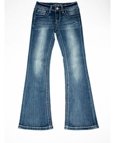Grace in LA Girls' Medium Zig Zag Pocket Bootcut Jeans, Blue, hi-res