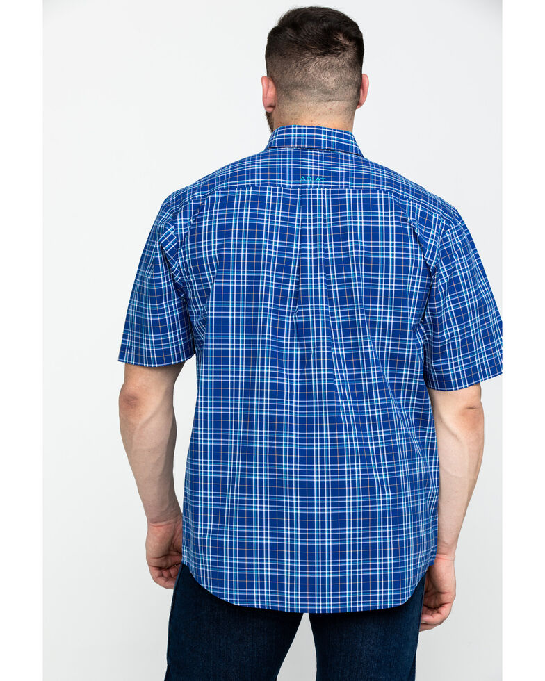 Ariat Men's Narciso Mazarine Med Plaid Short Sleeve Western Shirt - Big & Tall , Blue, hi-res
