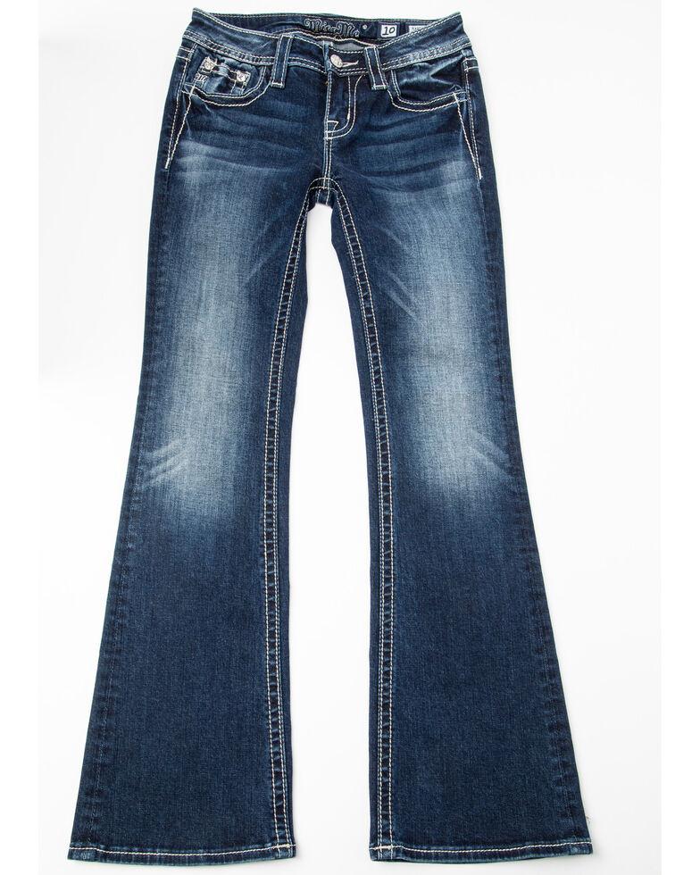 Miss Me Girls' Fringe Bootcut Jeans, Dark Blue, hi-res