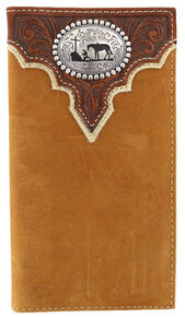 Cody James Men's Leather Praying Cowboy Rodeo Wallet, Brown, hi-res