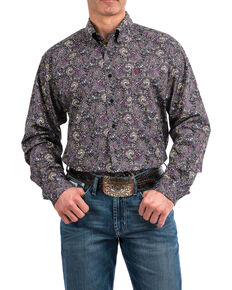 27f932ccd7 Cinch Men s Black Geo Print Weave Long Sleeve Western Shirt