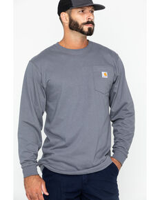Carhartt Pocket Long Sleeve Work T-Shirt, Charcoal Grey, hi-res
