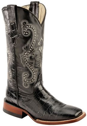 Ferrini Alligator Print Cowgirl Boots - Wide Square Toe, Black, hi-res