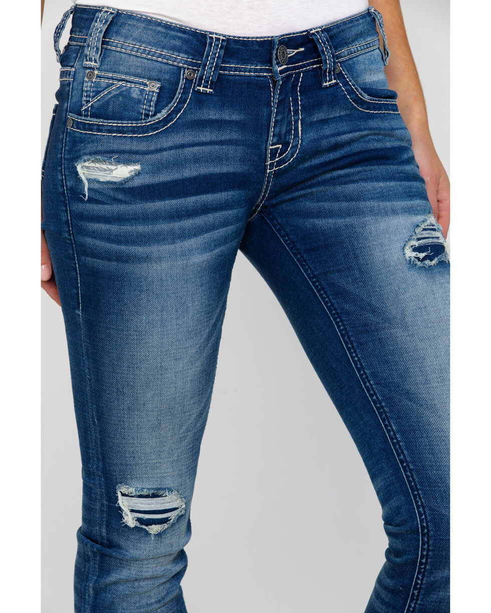 Rock & Roll Cowgirl Women's Distressed Flat Seam Rival Boot Jeans  , Blue, hi-res