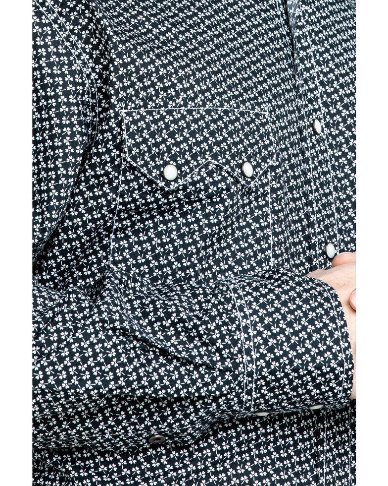 Cinch Men's Navy Modern Clover Geo Print Long Sleeve Western Shirt , Navy, hi-res