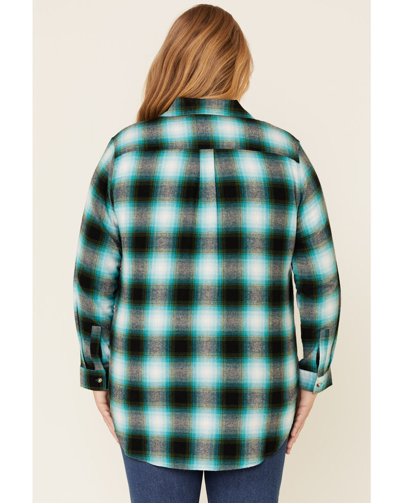 Ely Walker Women's Plaid Long Sleeve Western Flannel Shirt - Plus, Green, hi-res
