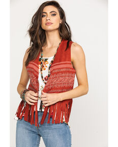 Vocal Women's Bling Print Fringe Short Vest, Rust Copper, hi-res