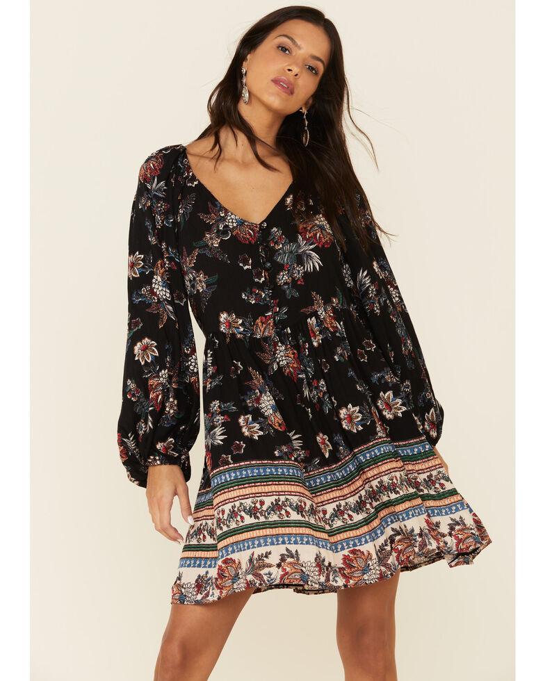 Angie Women's Floral Print Dress, Black, hi-res