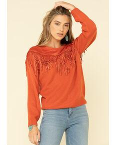 Wrangler Retro Women's Rust Fringe Sweater , Rust Copper, hi-res
