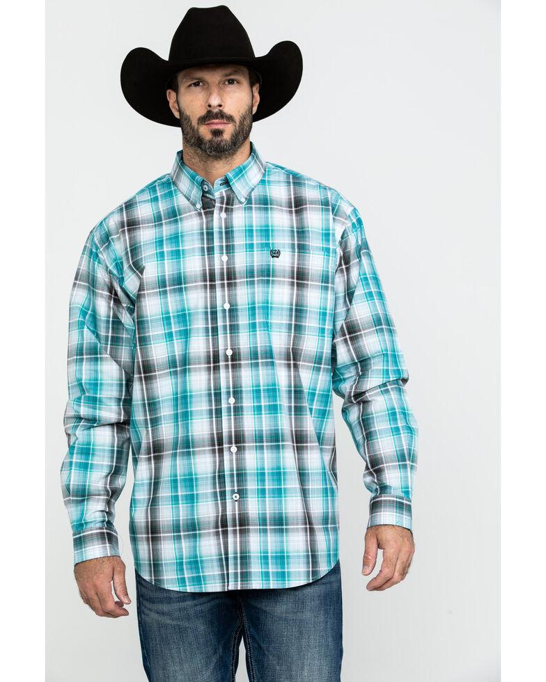 Cinch Men's Multi Purple Plaid Long Sleeve Western Shirt , Purple, hi-res
