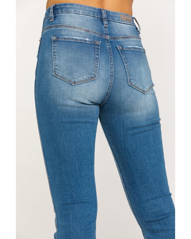 Miss ME Women's Button Front Basic Crop Boot Jeans, Blue, hi-res