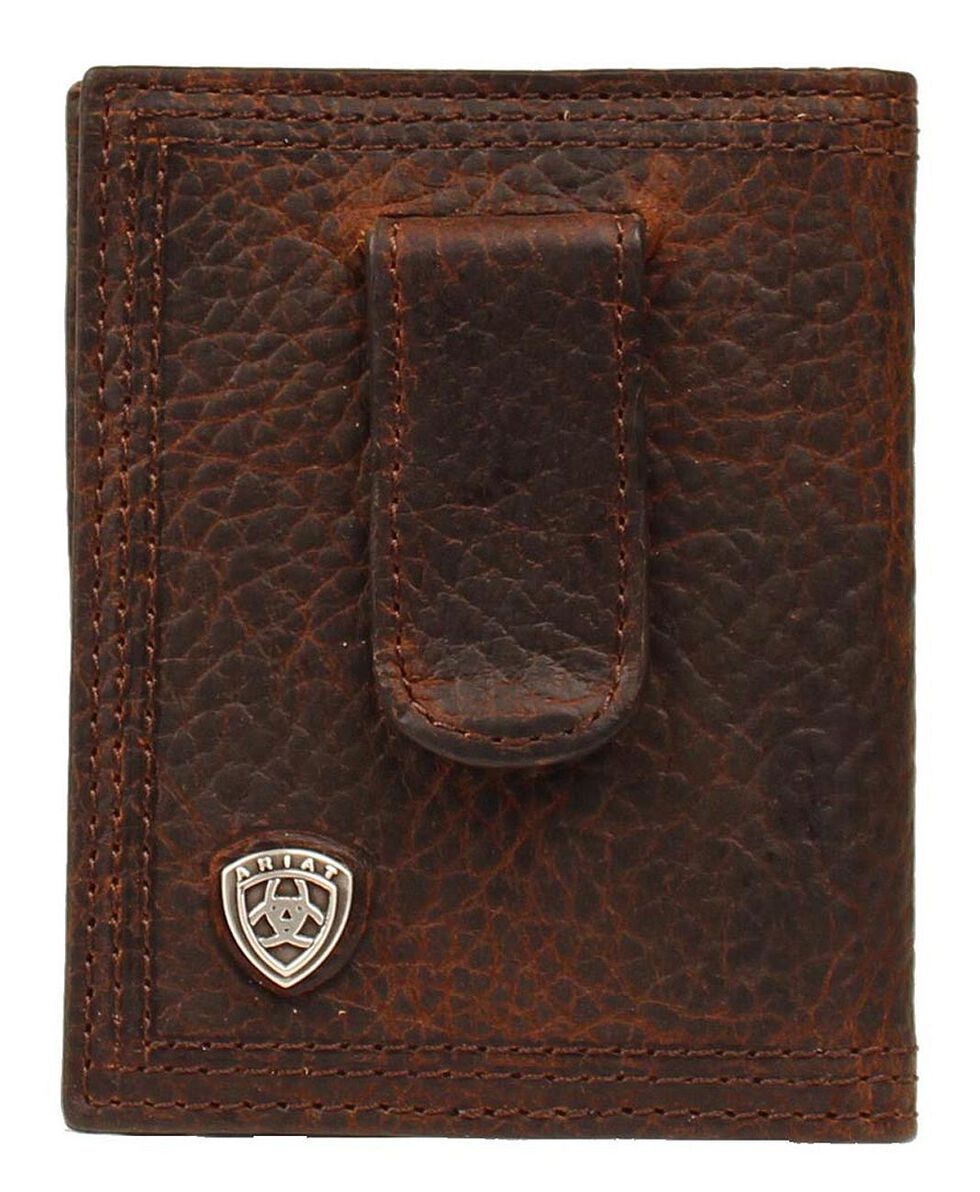 Ariat Logo Concho Clip Bi-fold Wallet, Brown, hi-res
