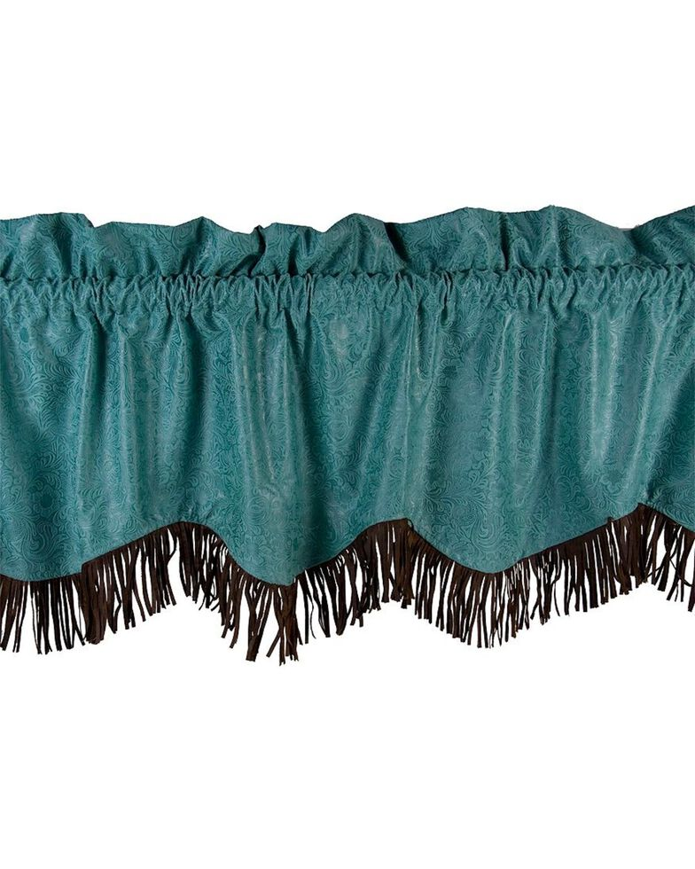 HiEnd Accents Cheyenne Tooled Faux Leather Valance, Turquoise, hi-res