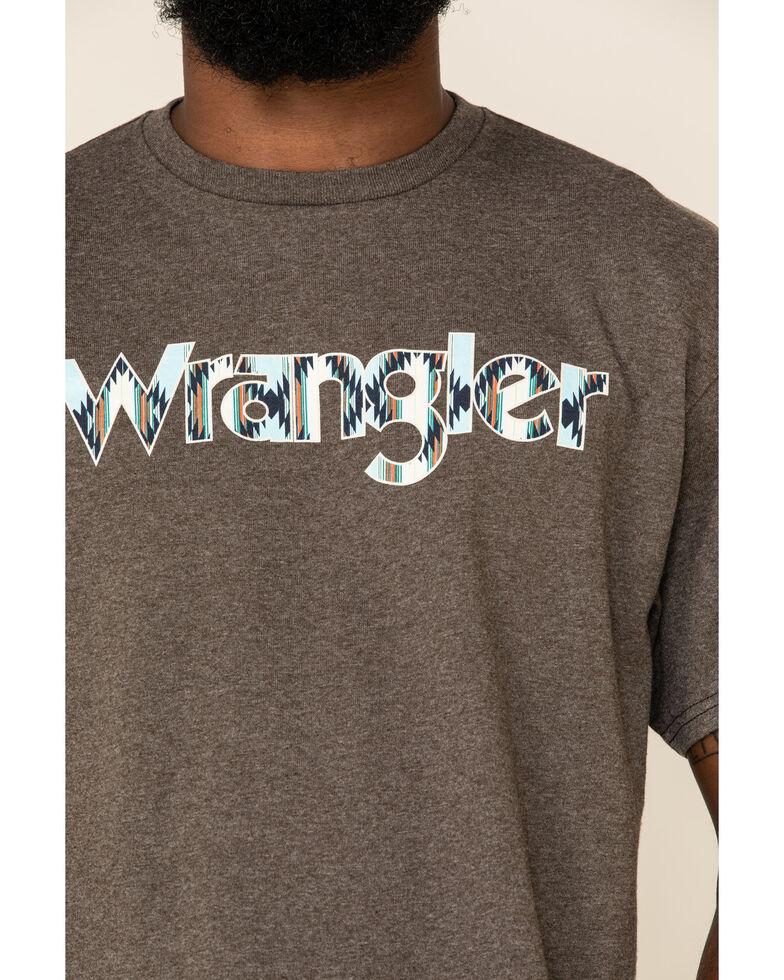 Wrangler Men's Heathered Brown Aztec Logo Graphic T-Shirt , Brown, hi-res