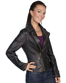 Scully Women's Studded Lamb Leather Motorcycle Jacket, Black, hi-res