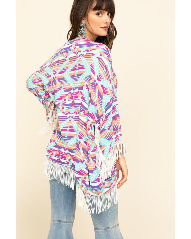 Rock & Roll Cowgirl Women's Stripe Aztec Fringe Kimono, Turquoise, hi-res