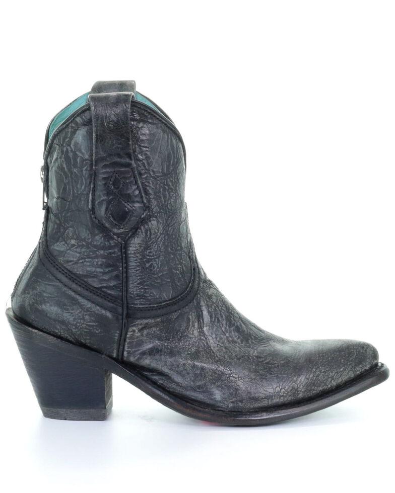 Corral Women's Distressed Black Western Booties - Snip Toe, Black, hi-res