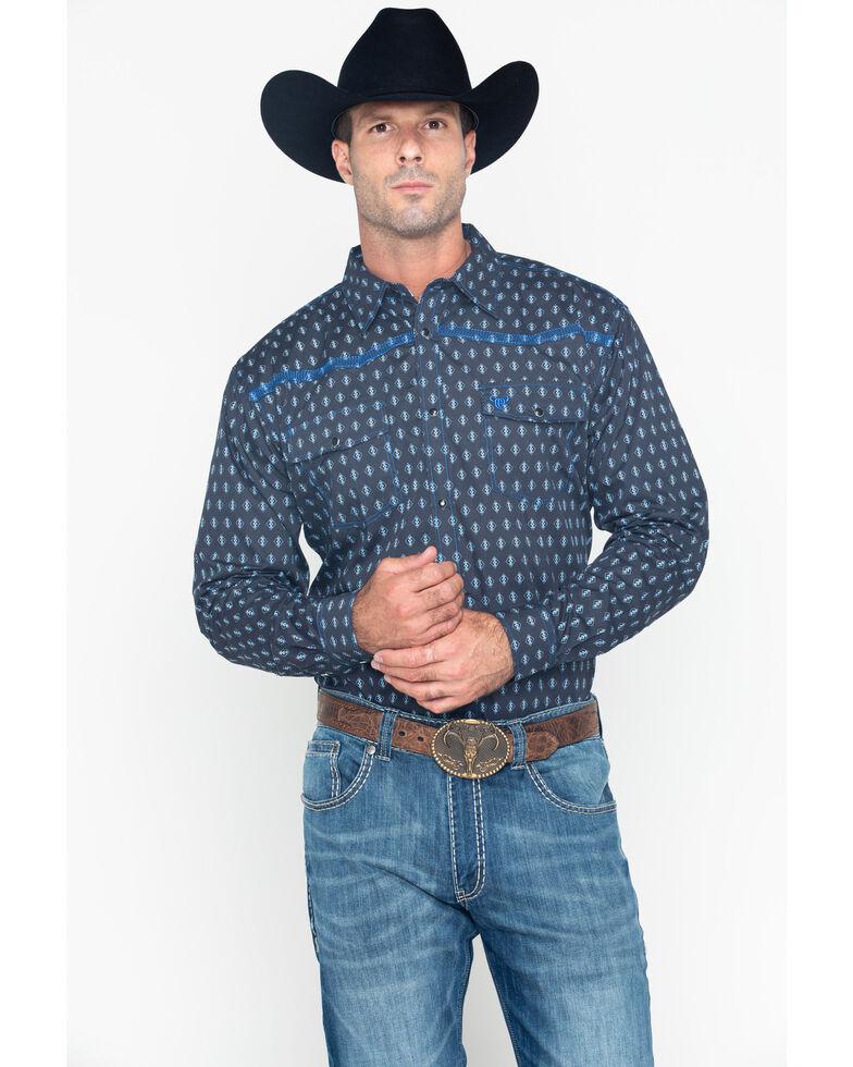Cowboy Hardware Men's Diamond Print Long Sleeve Western Shirt , Navy, hi-res