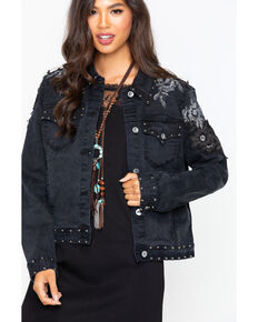 Grace in LA Women's Embellished Jacket , Black, hi-res