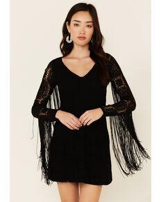 Idyllwind Women's Thunder Road Fringe Crochet Dress, Black, hi-res