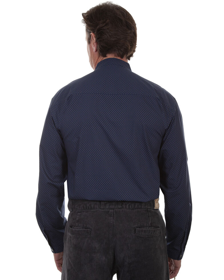 Rangewear by Scully Men's Navy Print Long Sleeve Western Shirt , Navy, hi-res