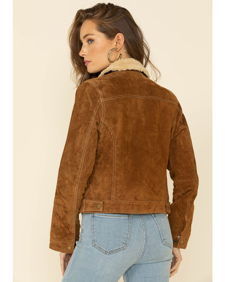 Scully Women's Camel Faux Shearling Jean Jacket, Brown, hi-res