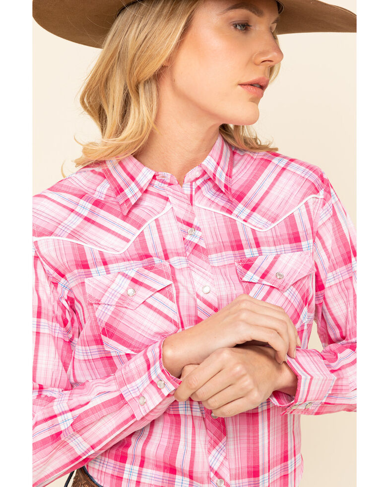 Cumberland Outfitters Women's Pink Lurex Plaid Snap Long Sleeve Western Shirt , , hi-res