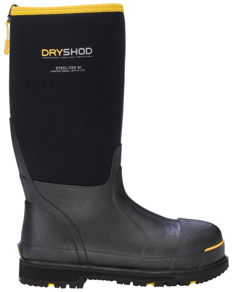 Dryshod Men's Hi Steel Toe Gusset Work Boots, Black, hi-res