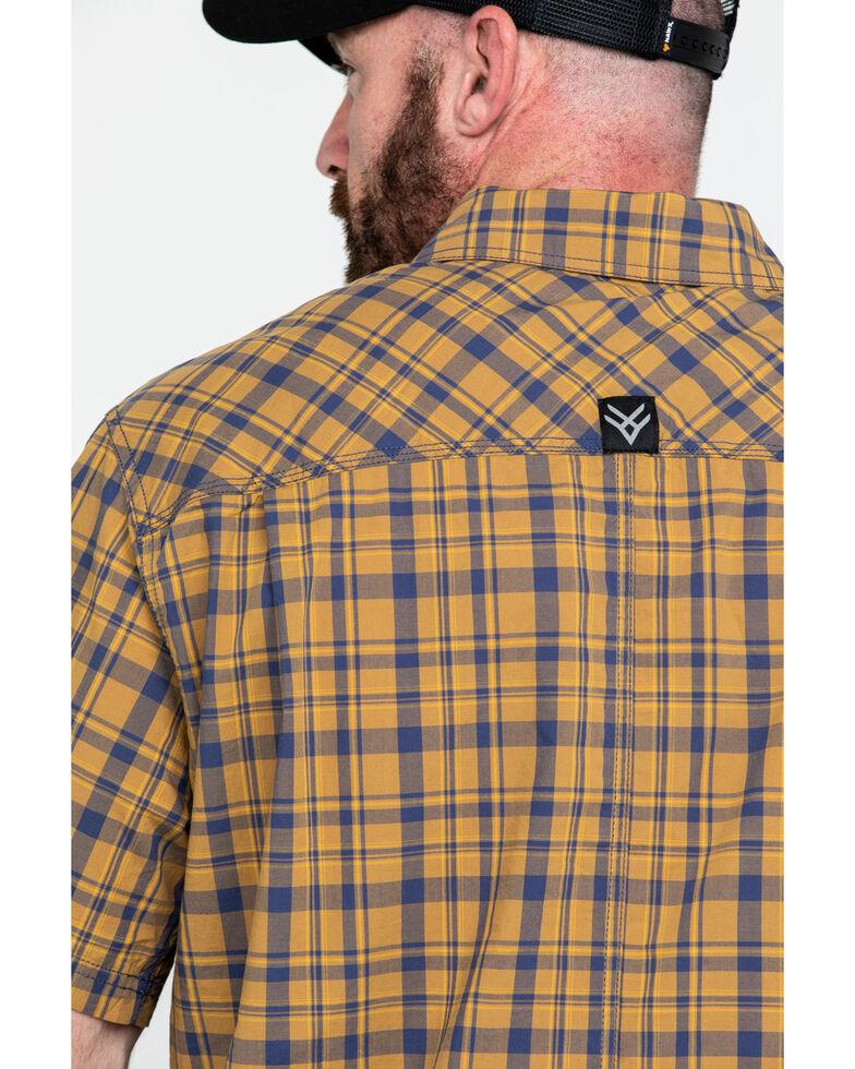 Hawx® Men's Plaid Yarn Dye Two Pocket Short Sleeve Work Shirt , Brown, hi-res
