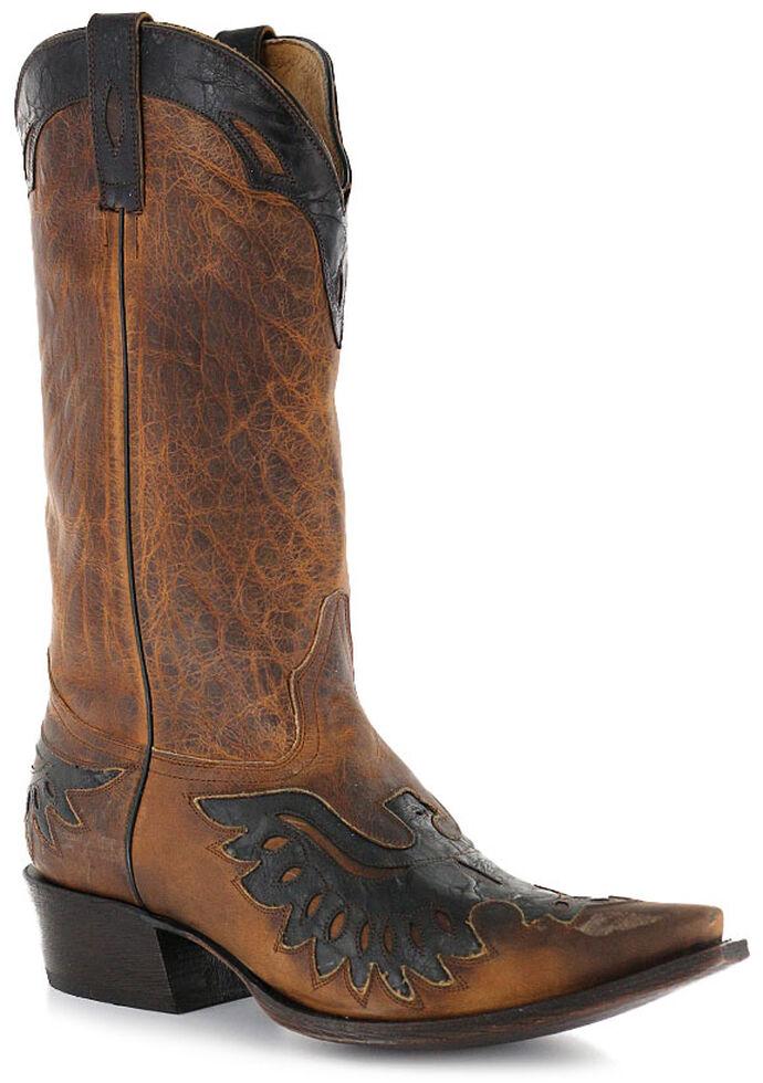Moonshine Spirit Men's Eagle Overlay Western Boots - Snip Toe, Brown, hi-res